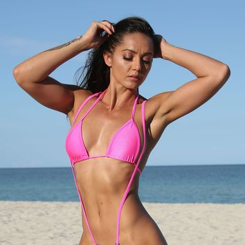 Hot Pink Basic Triangle Bikini Top Sassy Assy Swimwear