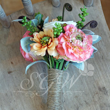 Rustic Peach Rose and Ranunculus Succulent Bridesmaid Bouquet