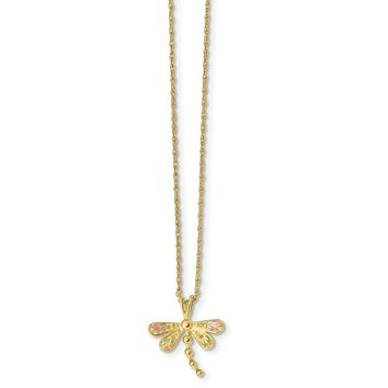 10K Yellow Gold Tri Color Black Hills Gold Dragonfly Necklace 18 IN
