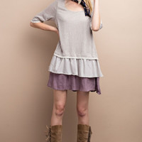 Oatmeal & Mauve Tiered Ruffle Hem Shift Dress