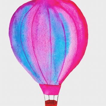 Contemporary Blue and Pink Hot Air Balloon Hand Embroidery Pattern