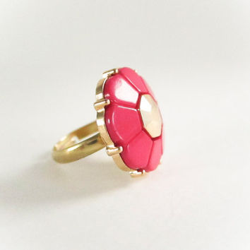 Vintage Pink and Gold Flower Ring, Gold Ring, Vintage Ring, Statement Ring,  Bridesmaid Gift, Floral Ring,Gold Ring, Spring Jewelry