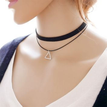 Double Layers Choker Necklace Accessory