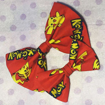 Anime Manga Pokemon Pokeball Pikachu Pocket Monster Nintendo Gamer Nerd Geek Otaku Weeaboo Hairclip Bow Bowtie