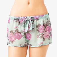 Cabbage Rose Print Shorts