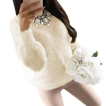 Winter Faux Fur Warm Sweaters 2018 Women Wool Knitted Ladies Cashmere Sweaters Pullovers Fluffy Female Jumper Pull Femme