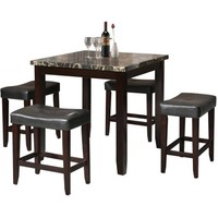 Acme Ainsley 5-Piece Counter-Height Dining Set, Black Faux Marble and Espresso - Walmart.com