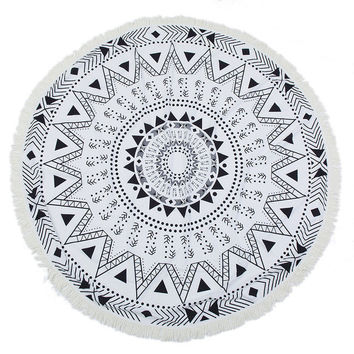 Round Abstract Beach Towel