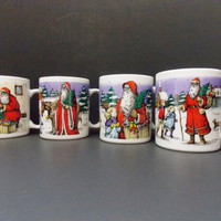 4  Christmas Mugs Christmas Victorian Christmas Santa Claus Coffee Mugs Hot Chocolate Christmas Mugs MayiZanke Create Mugs