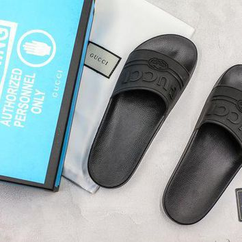 DCCK Gucci Logo Black Rubber Slide Sandal With Blue Box 36-45