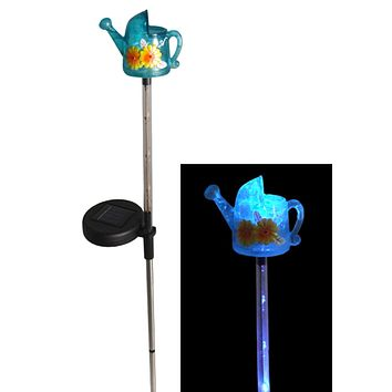"29"" LED Lighted Solar Powered Outdoor Watering Can Garden Lawn Stake"