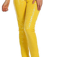 Sequin Pants - Lemon