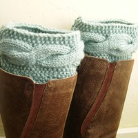 Mint Blue Legwarmers, Knit Boot cuffs, Boot toppers, cable knit boot cuffs