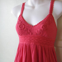 Beach Baby Crochet Embellished Crinkly Coral Sundress~Vtg '90s Empire Waist Coral Pink XS Babydoll Dress; Free Shipping/U.S.