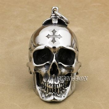 Huge Heavy 316L Stainless Steel Cross Skull Pendant Punk Style