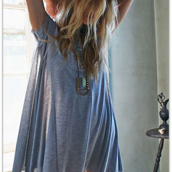 Gray Asymmetric Flare Dress