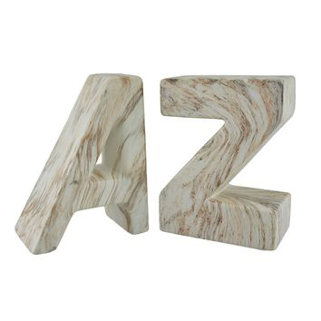 White and Brown Marble Finish Ceramic A to Z Bookend Set