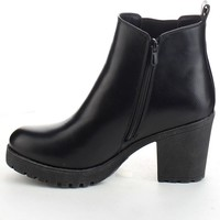 Refresh Club-01 Women's Elastic Panel Slip On Chunky Heel Ankle Booties,Black,9