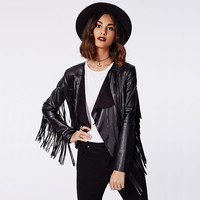 Casual Black PU Leather Long Sleeve Fringed Jacket