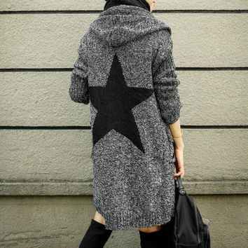 Day-First™ Pentagram Pattern Hooded Sweater Knit Cardigan Jacket Coat