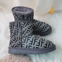 FENDI 2018 winter new non-slip short boots warm snow boots grey