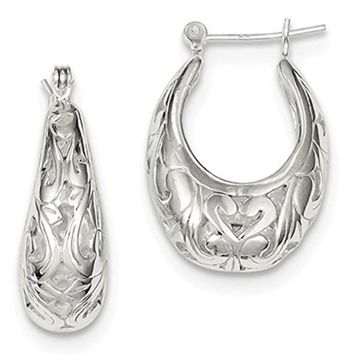 Sterling Silver Filigree Scroll Oval Hoop Earrings (24mm)