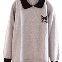 Color Block Cat Print Loose Sweatshirt