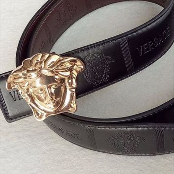 Versace Medusa Black Leather Men's BeltBlack Belt