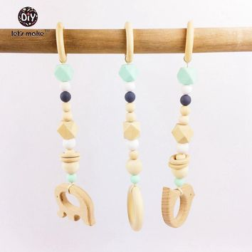 Let's Make Baby Teether 3pcs Elephant Beech Wood Animal Wooden Ring Rattle Play Gym Round Beads Silicone Beads Wooden Teether