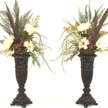 Silk Flower Arrangement, Unique Home Decor, Artificial Flowers Pair in Matching Pedestal Vases - Twin Feathers in the Patique Collection