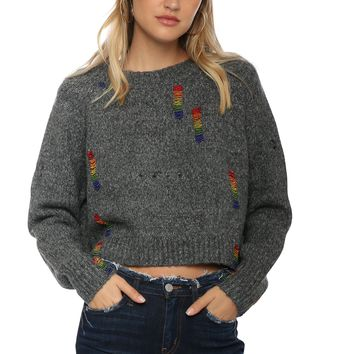 Robertson & Rodeo Rainbow Beaded Knit Sweater