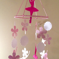 Pink Baby Mobile, ballerina baby mobile, paper Chandelier, Pink with Pearls Paper mobile, baby girl mobile, office decor, dancer, dance