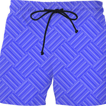 Corrugated metal sheet plate pattern, blue steel like effect swim shorts design