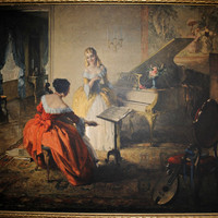 Louis Jambor Signed Oil Painting Print, Vintage Art Print of A Musical Interlude, Framed Lithograph Print