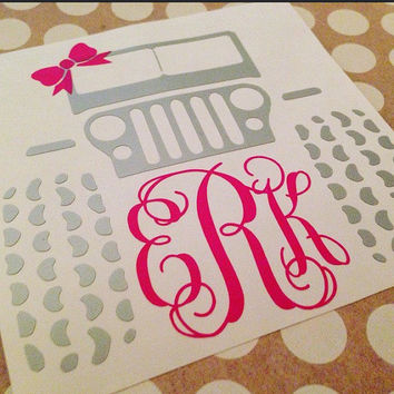 Monogrammed Jeep  | Jeep Monogram | Vine Monogram Jeep | Jeep Vinyl Decal | Car Decal | Jeep Life | Jeep Decal | Car Decal
