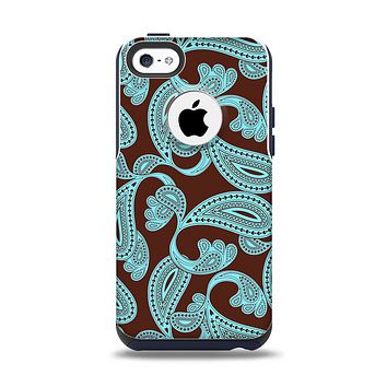 The Brown & Teal Paisley Pattern Apple iPhone 5c Otterbox Commuter Case Skin Set