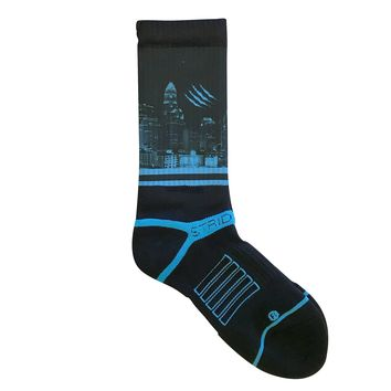 Strideline 2.0 Charlotte Carolina Panthers Black Slash City Crew Socks