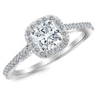 GIA Certified 1.35 Carat Cushion Diamond Engagement Ring w 1 Ct I VS Center
