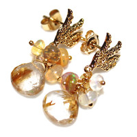 Golden Rutilated  Quartz Earring Antler Earring Woodland Jewelry Opal Earrings Deer Earrings Nature Jewelry Quartz Jewelry Fall Style