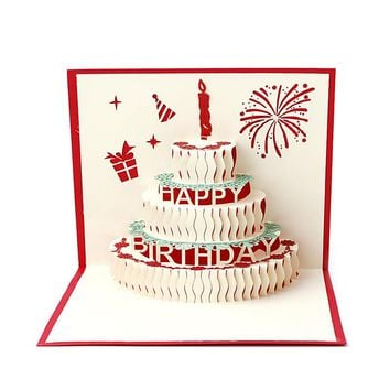 3D Pop Up Greeting Card Handmade Birthday Valentine Wedding Invitation Various