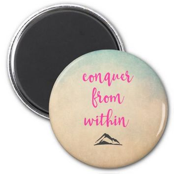 Inspirational Typography Quote on Determination 2 Inch Round Magnet