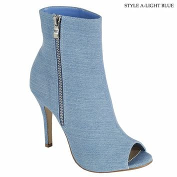 New Women Fashion Denim Open Peep Toe Ankle Booties Stilletto High Heel Shoes