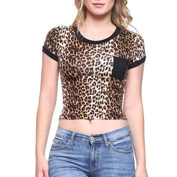 Cheetah Print Top with Pocket