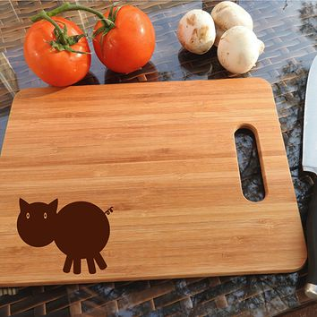 ikb596 Personalized Cutting Board funny pig kitchen gift