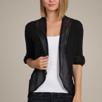 M. Rena Pointelle Shawl Collar Cardigan In Black