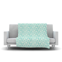 "Amanda Lane ""Geo Tribal Turquoise Sky"" Teal Aztec Fleece Throw Blanket"