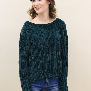 Asymmetrical Hem Chenille Sweater (Multiple Colors Available)