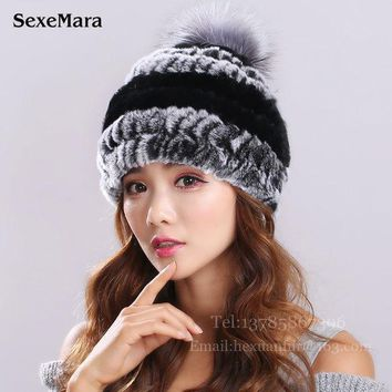 New Lovely Real Mink Fur Hat For Women Winter Knitted Mink Fur Beanies Cap With Fox Fur Pom Poms Brand New Thick Female Cap 003