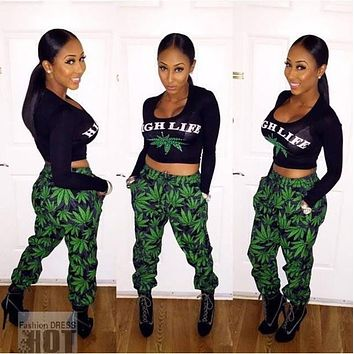Plus Size Fashion Long Sleeve Green Leaves Print Rompers Womens Jumpsuit Two Piece Outfits