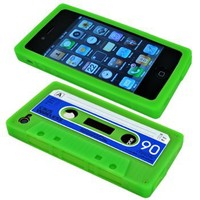 Cbus Wireless brand Green/Blue Silicone Cassette Tape Case / Skin / Cover for Apple iPhone 4S / iPhone 4